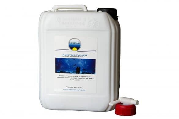 Produit nettoyant pour surfaces en methacrylate, PMMA, panneaux et parois des Aquariums
